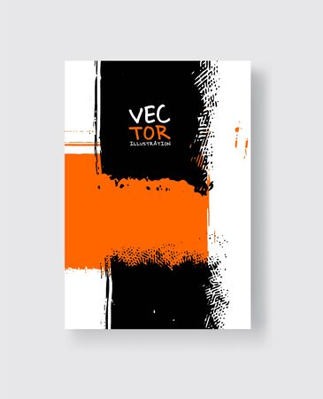 Black orange ink brush stroke on white background. Minimalistic style. Vector illustration of grunge element stains.Vector brushes illustration. Ilustração