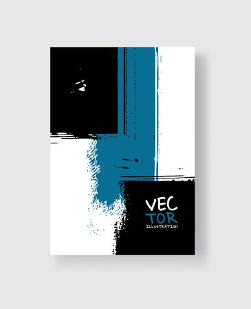 Black blue ink brush stroke on white background. Minimalistic style. Vector illustration of grunge element stains.Vector brushes illustration.
