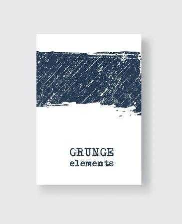 Blue grunge brush stroke on white background. Minimalistic style. Vector illustration of grunge element stains. Vector brushes illustration.