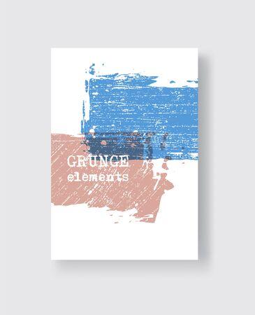 Blue coral grunge brush stroke on white background. Minimalistic style. Vector illustration of grunge element stains. Vector brushes illustration.