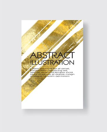 Vector White and Gold Design Templates for Brochures, Flyers, Mobile Technologies, Applications, Online Services, Typographic Emblems, Logo, Banners and Infographic. Golden Abstract Modern Background. Foto de archivo - 140901009