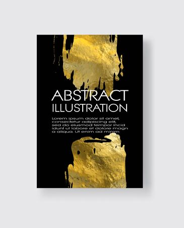 Vector Black and Gold Design Templates for Brochures, Flyers, Mobile Technologies, Applications, Online Services, Typographic Emblems, Logo, Banners and Infographic. Golden Abstract Modern Background. Foto de archivo - 140901007