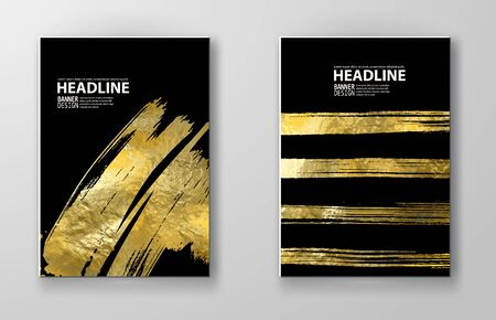 Vector Black and Gold Design Templates for Brochures, Flyers, Mobile Technologies, Applications, Online Services, Typographic Emblems, Logo, Banners and Infographic. Golden Abstract Modern Background. Foto de archivo - 140901129