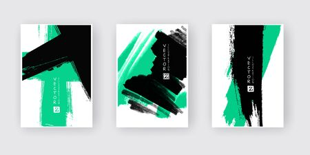 Green black ink brush stroke on white background. Japanese style. Vector illustration of grunge abstract stains