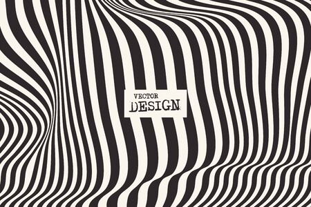 Design monochrome waving lines illusion background. Abstract stripe distortion backdrop. Zebra style decoration. Wallpaper with empty space for your text. Vector illustration
