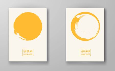 Abstract big color grunge circle on white background set. Brochure, banner, poster design. Sealed with decorative red stamp. Stylized symbol of Japan. Vector illustration.