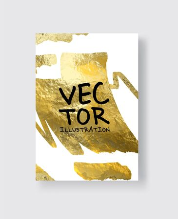 Vector White and Gold Design Templates for Brochures, Flyers, Mobile Technologies, Applications, Online Services, Typographic Emblems, Banners and Infographic. Golden Abstract Modern Background.