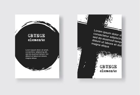 Set of Two Grunge Flyer Templates. Brochure or Banner Design Template. Abstract Modern Background. Grunge Black and White Distress Texture.