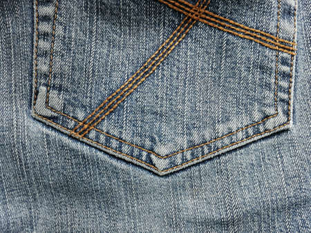 Close up of denimjeans with the seam of pocket texture. Stock Photo
