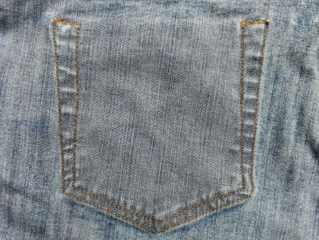 Close up of the inside of denimjeans with the seam of pocket texture. Stock Photo