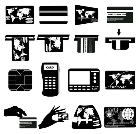 withdraw: ATM Money withdraw icons set Illustration