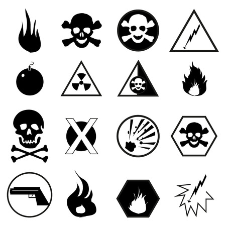 electricity danger of death: Danger warning icons set