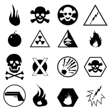 volatile: Danger warning icons set