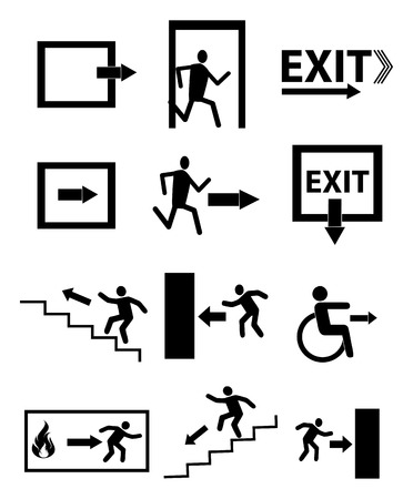 green exit emergency sign: Emergency exit icons set Illustration