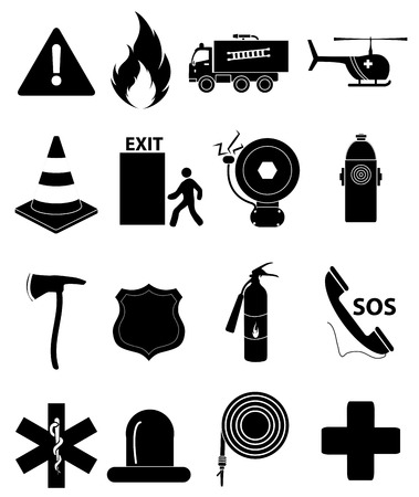 fire exit: Emergency icons set