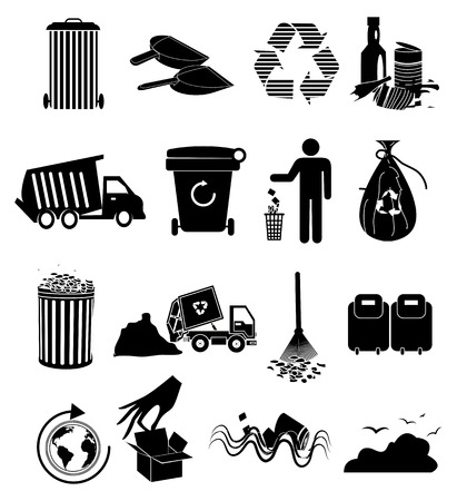 cesto basura: Iconos de basura establecen
