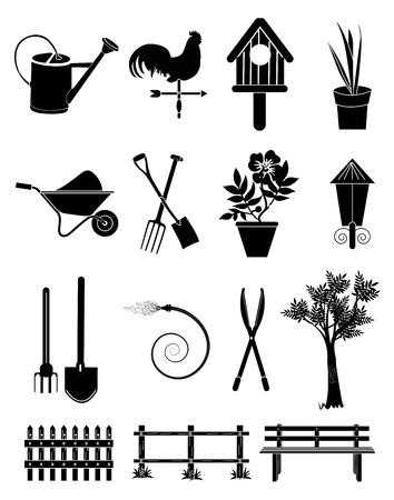 gardening hose: Gardening icons set