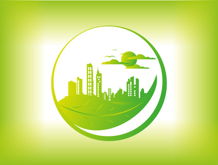 녹색 도시 배경