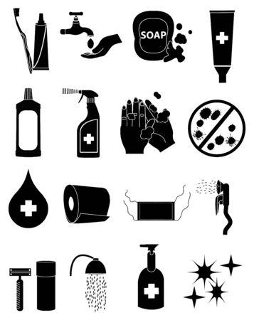 healthcare hygiene icons set