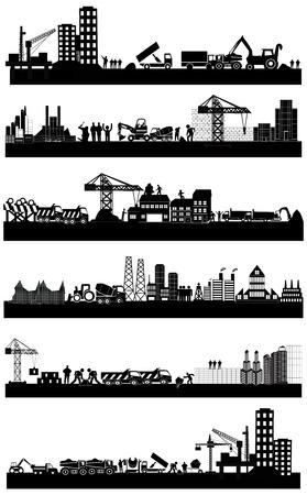 산업 건물의 스카이 라인 세트