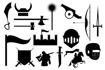 medieval knights icons set Illustration
