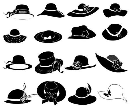 siluetas de mujeres: Se�oras sombreros iconos conjunto
