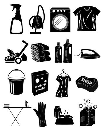 laundry icons set Vector