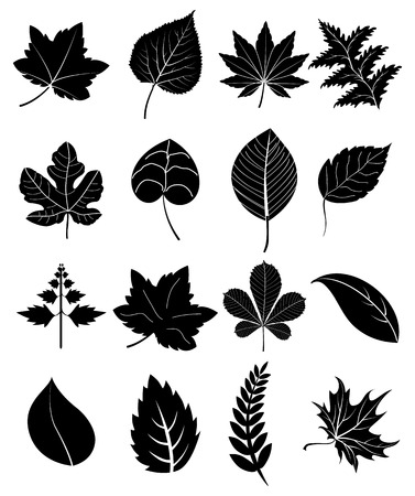 white clip: Leaf icons set