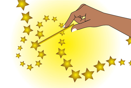 hand holding magic wand background Vector