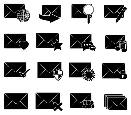 sms email message icons set Illustration