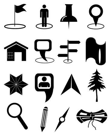 maps navigation icons set