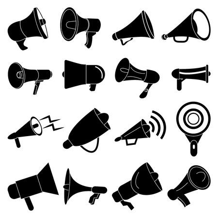 Megaphone speaker icons set Illustration