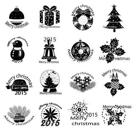 Merry christmas icons set Illustration