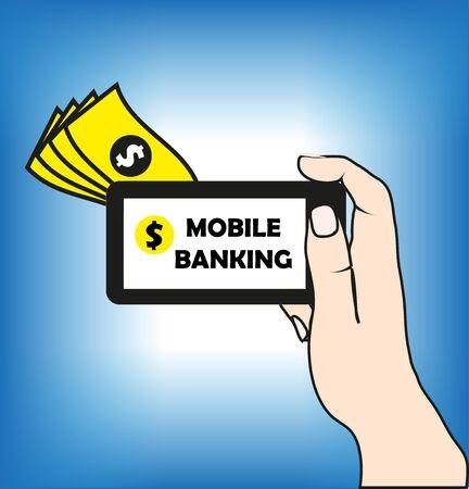 Mobile banking background Ilustração