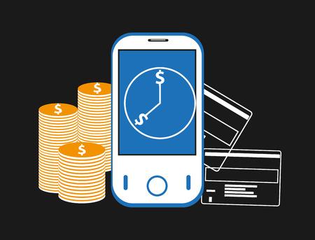 mobile banking: Mobile banking background Illustration