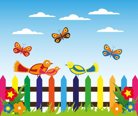 Colorful morning fence background