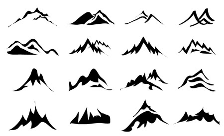 logotipo turismo: Monta�as iconos conjunto