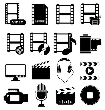 Movie video icons set