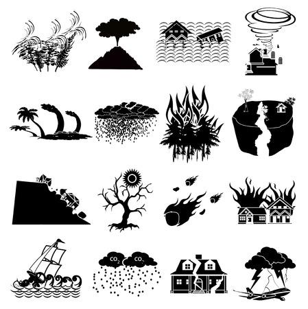 landslide: Natural disaster icons set