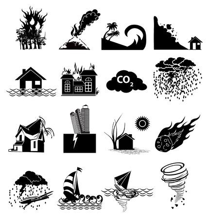 natural disaster: Natural disaster icons set