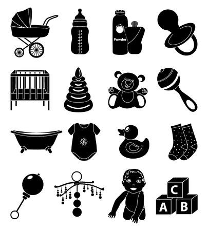 Baby toys icons set Illustration