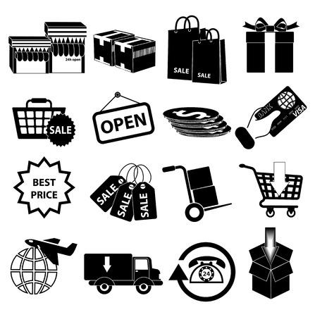 Sale delivery icons set Illustration