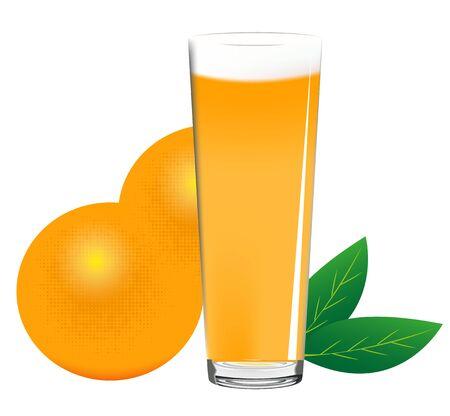 orange juice glass: Succo di arancia in vetro