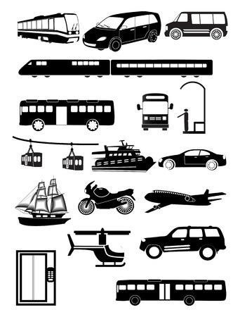 Public transport vehicles icons set Ilustração