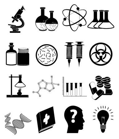 Science education icons set Illustration