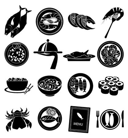 Seafood black icons set