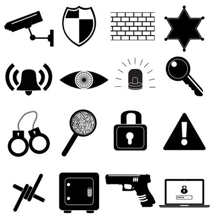 Security black icons set