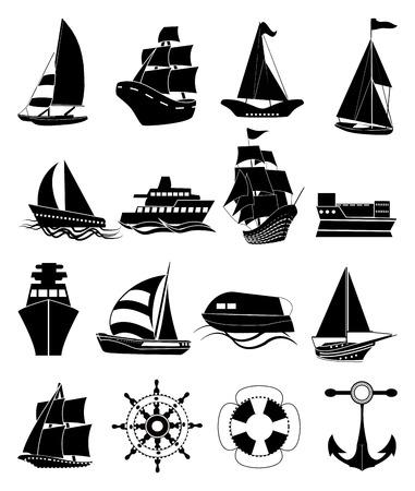 Ships black icons set