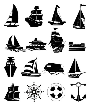 fishing boats: Ships black icons set