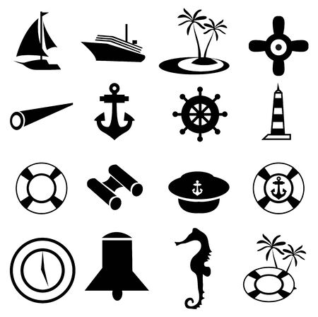 Nautical icons set Vector